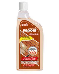 vepool teak Intensiv-Pflege pflegt Holzstrukturen und Schieferstein mit Tiefenwirkung. Neu farblos. Auch für sehr helle Hölzer geeignet.